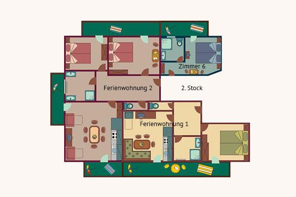 Grundriss 2. Stock - Ferienhaus Kössler, Radstadt